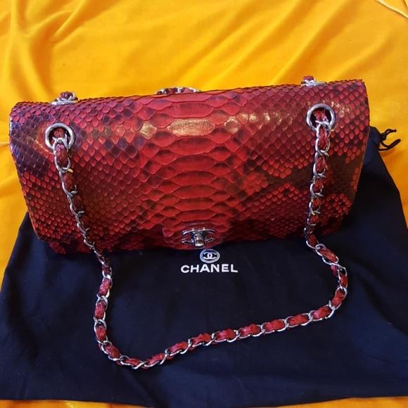f3725f83beb1 CHANEL Handbags - CHANEL 2.55 RED PYTHON FLAP BAG
